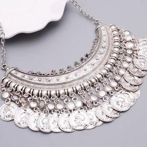 Silver Tone Coin Necklace